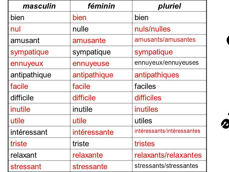 Grammaire masculin féminin pluriel bien nul nulle nuls/nulles amusant