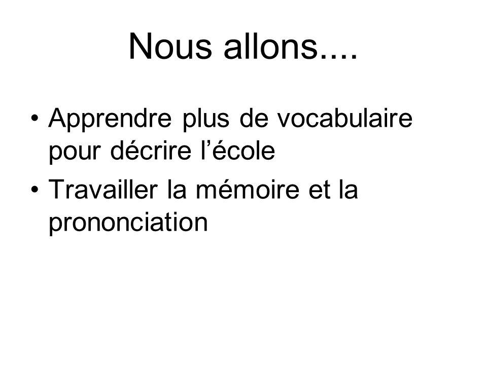 Nous allons.... Apprendre plus de vocabulaire pour décrire l'école