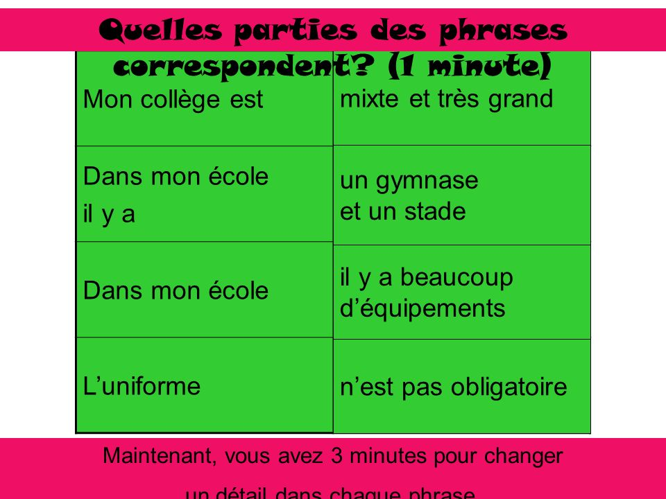 Quelles parties des phrases correspondent (1 minute)