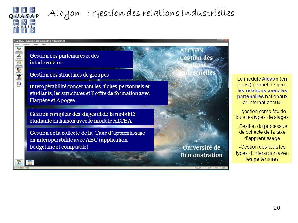 Alcyon : Gestion des relations industrielles