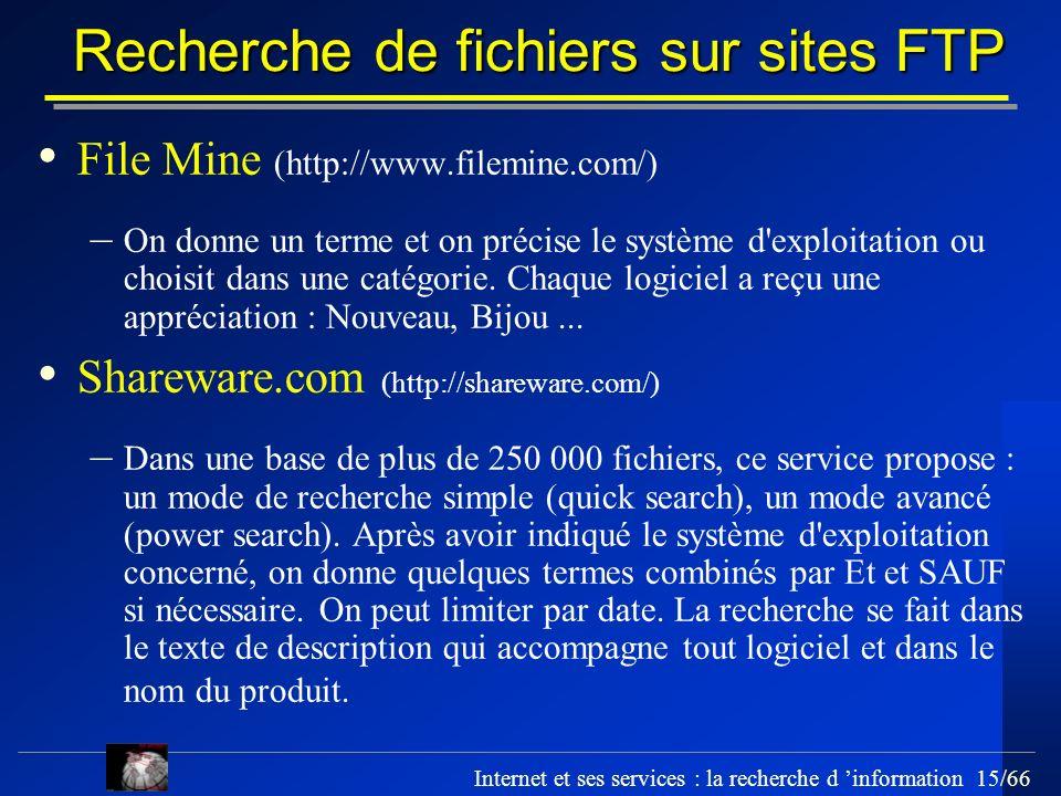 Recherche de fichiers sur sites FTP