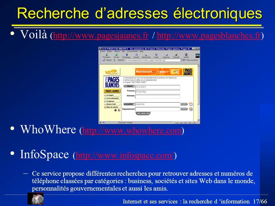 Recherche d'adresses électroniques