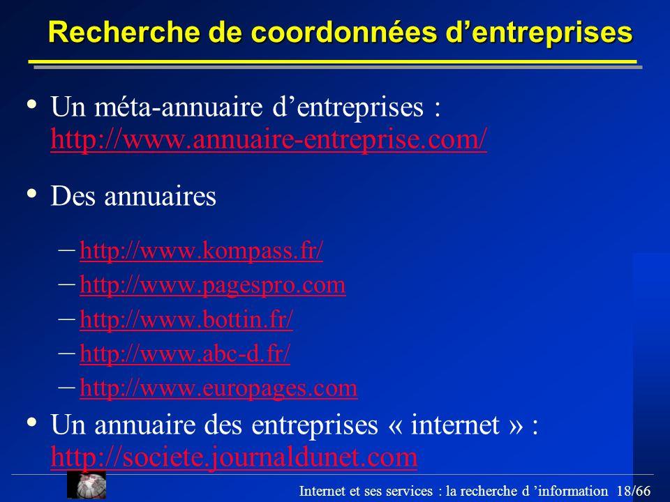 Recherche de coordonnées d'entreprises
