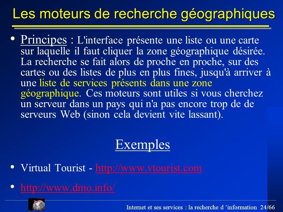 Les moteurs de recherche géographiques