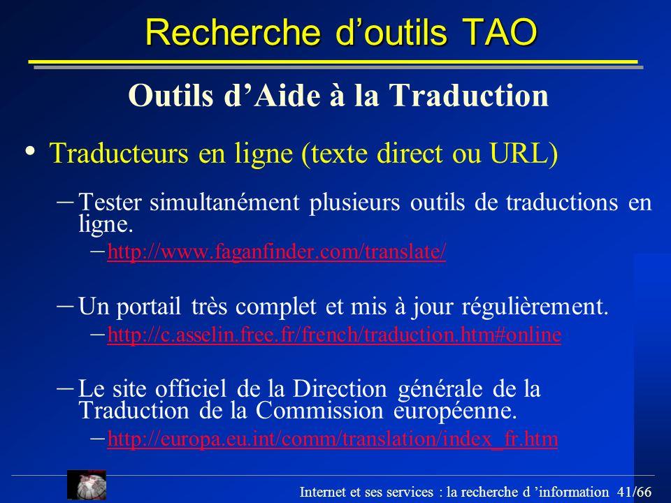 Recherche d'outils TAO