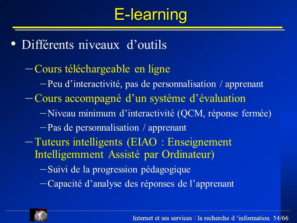 E-learning Différents niveaux d'outils Cours téléchargeable en ligne