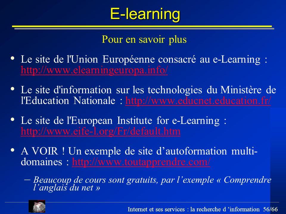 E-learning Pour en savoir plus
