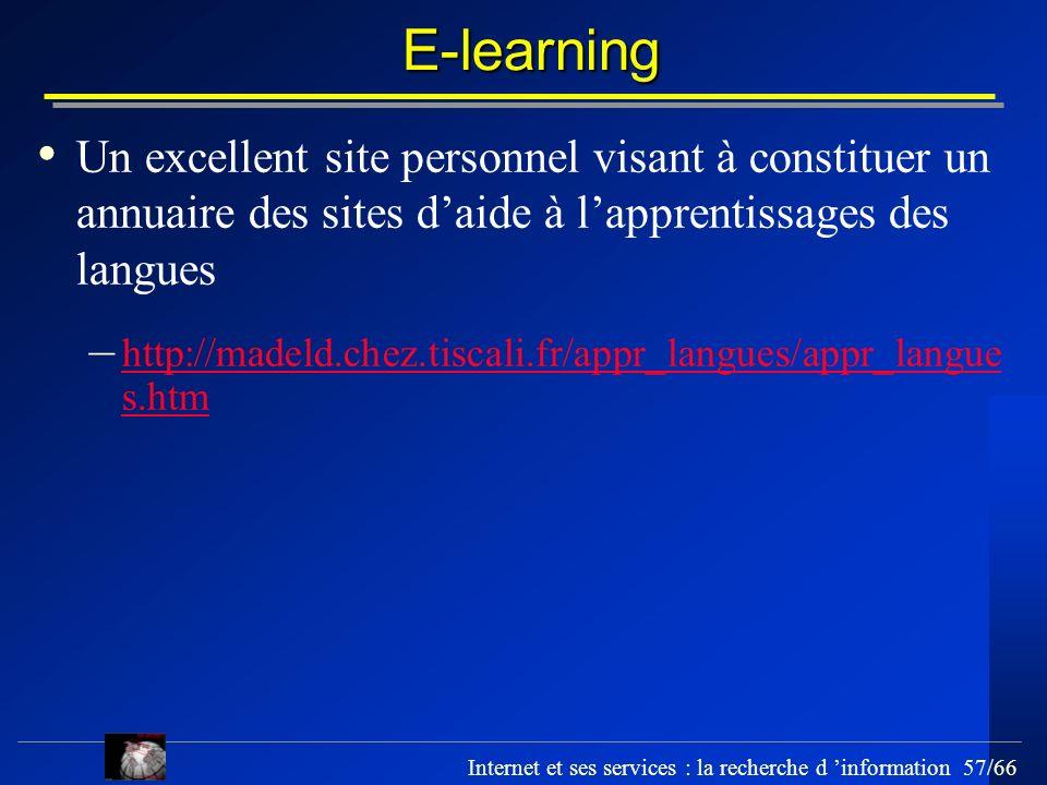 E-learning Un excellent site personnel visant à constituer un annuaire des sites d'aide à l'apprentissages des langues.