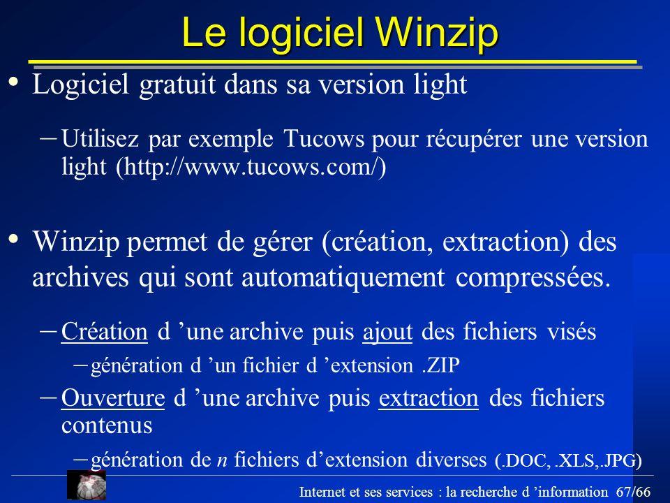 Le logiciel Winzip Logiciel gratuit dans sa version light