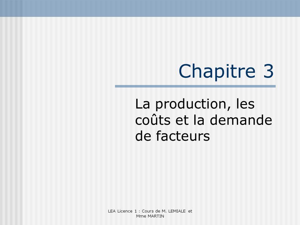 La production, les coûts et la demande de facteurs
