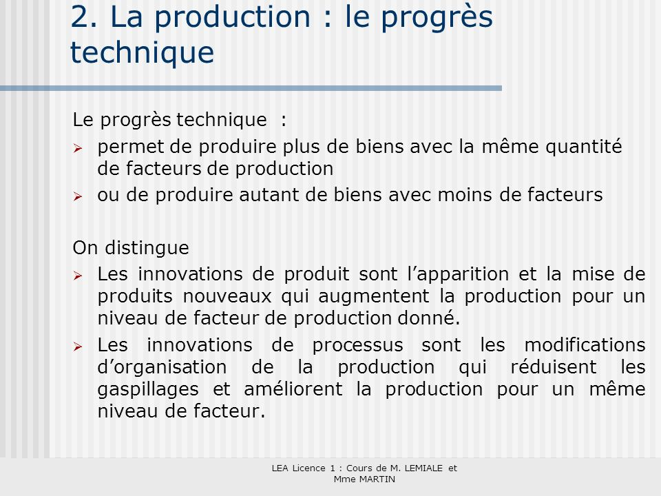 2. La production : le progrès technique