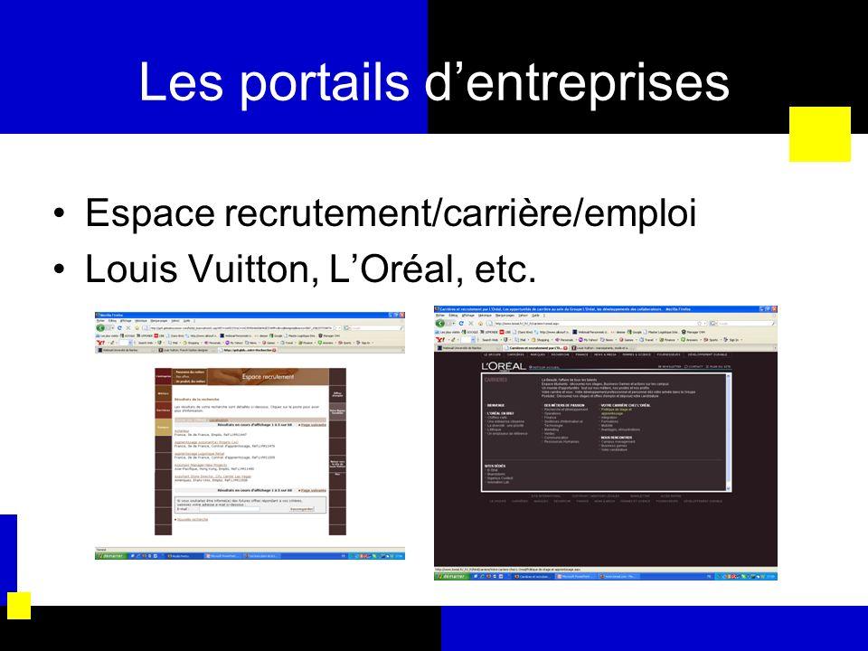 Les portails d'entreprises