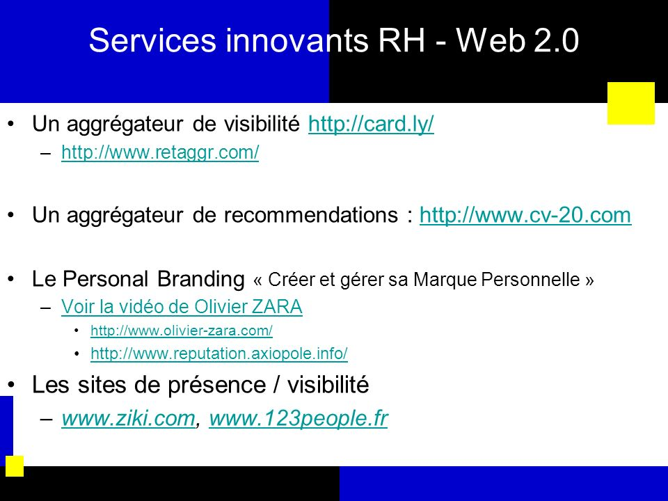 Services innovants RH - Web 2.0