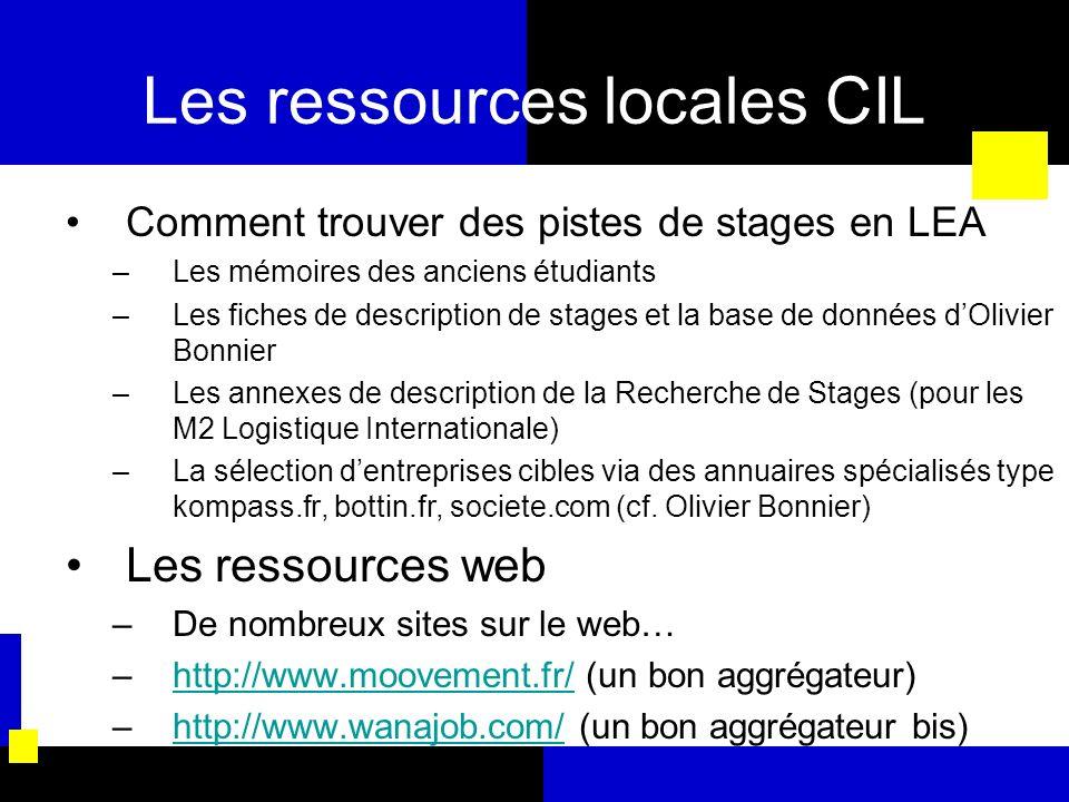 Les ressources locales CIL