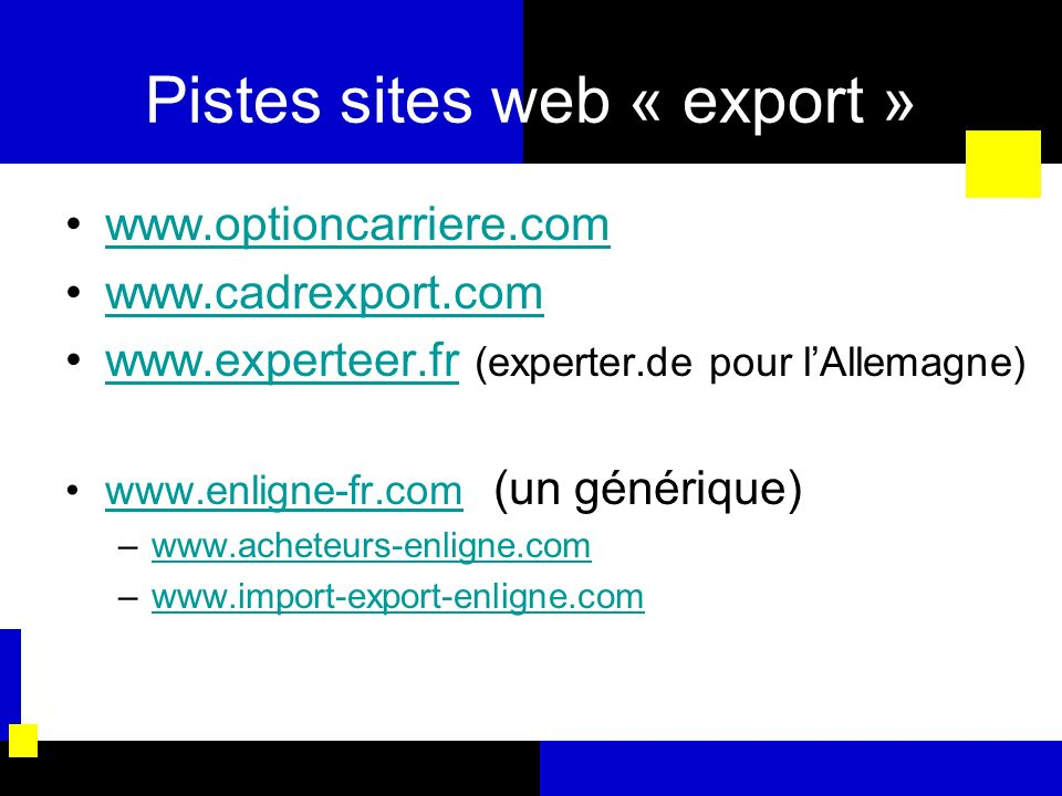 Pistes sites web « export »