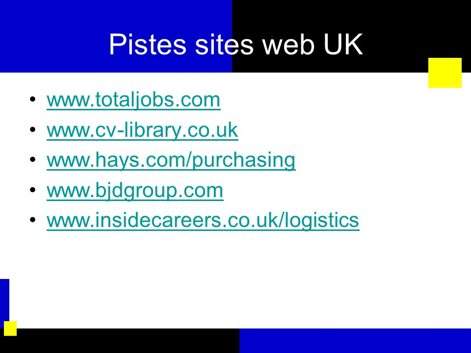 Pistes sites web UK www.totaljobs.com www.cv-library.co.uk