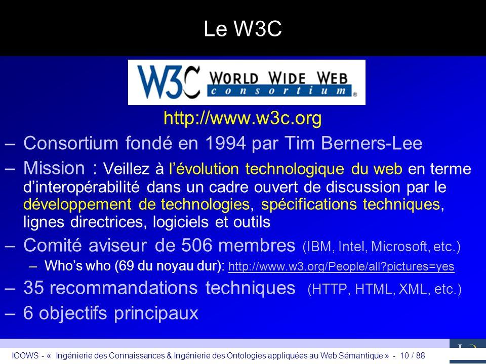 Le W3C http://www.w3c.org Consortium fondé en 1994 par Tim Berners-Lee