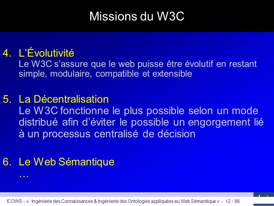 Missions du W3C L'Évolutivité Le W3C s'assure que le web puisse être évolutif en restant simple, modulaire, compatible et extensible.