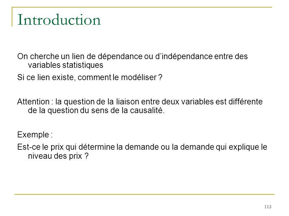 Introduction On cherche un lien de dépendance ou d'indépendance entre des variables statistiques. Si ce lien existe, comment le modéliser