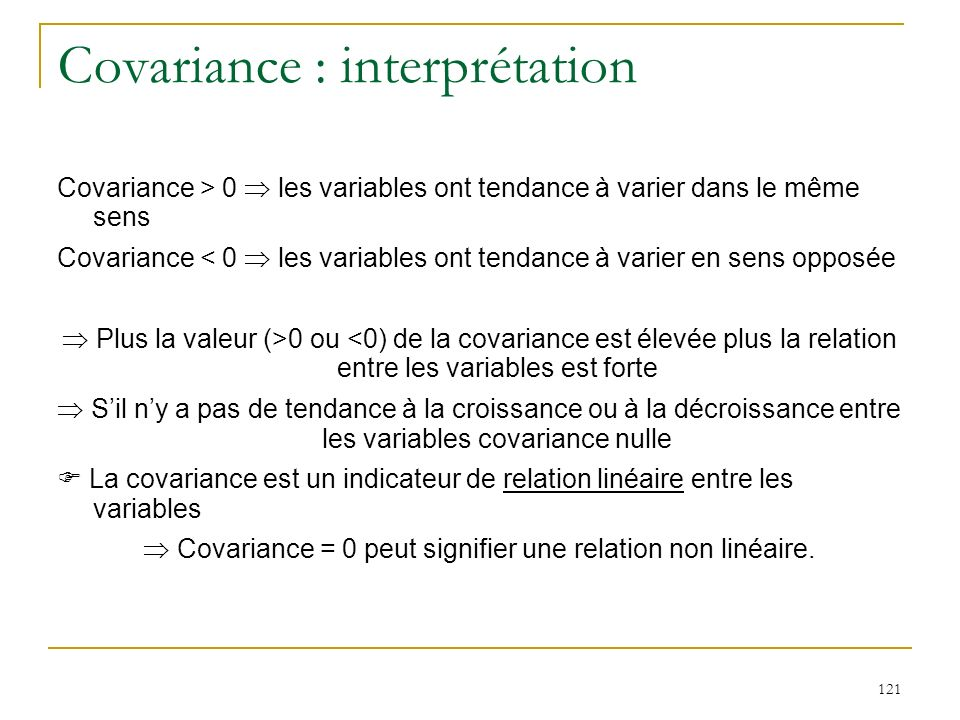 Covariance : interprétation