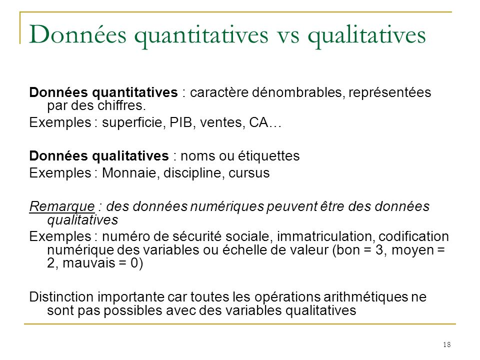 Données quantitatives vs qualitatives