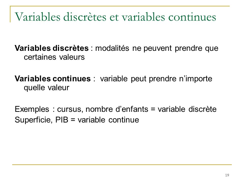 Variables discrètes et variables continues