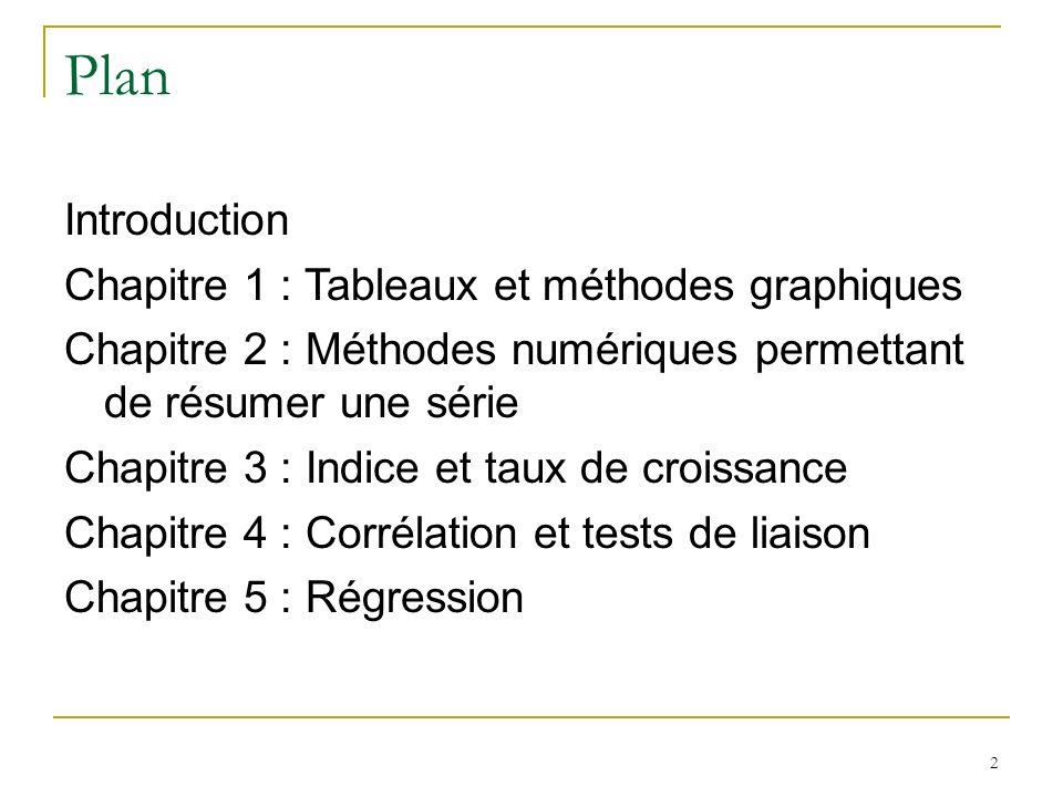 Plan Introduction Chapitre 1 : Tableaux et méthodes graphiques