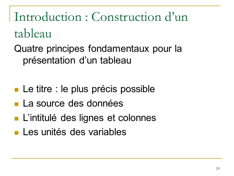 Introduction : Construction d'un tableau
