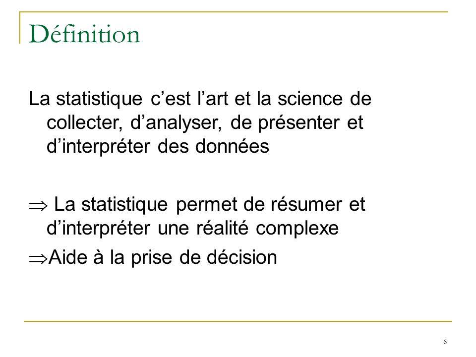 Définition La statistique c'est l'art et la science de collecter, d'analyser, de présenter et d'interpréter des données.