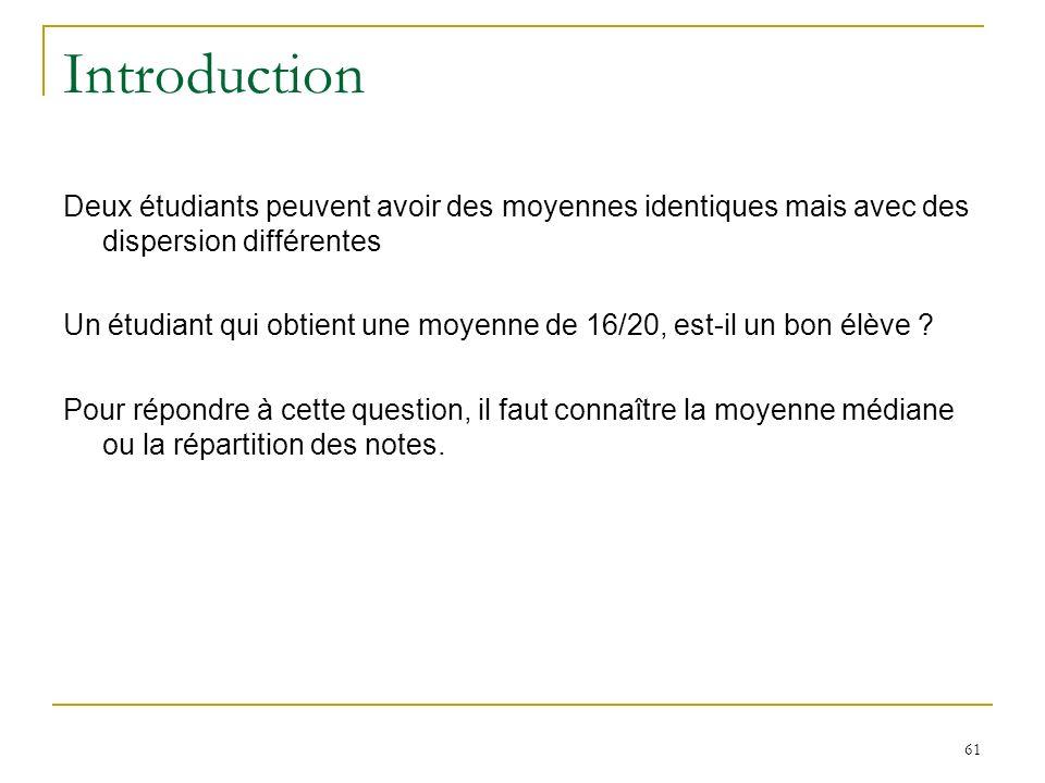 Introduction Deux étudiants peuvent avoir des moyennes identiques mais avec des dispersion différentes.