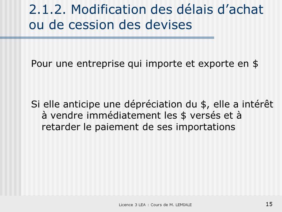 2.1.2. Modification des délais d'achat ou de cession des devises