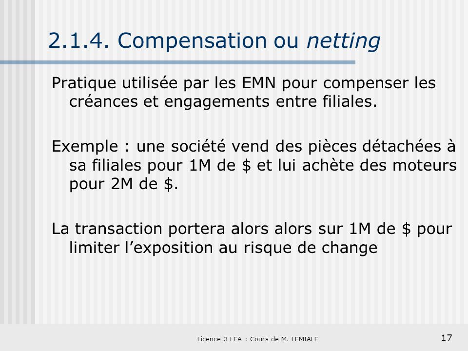 2.1.4. Compensation ou netting