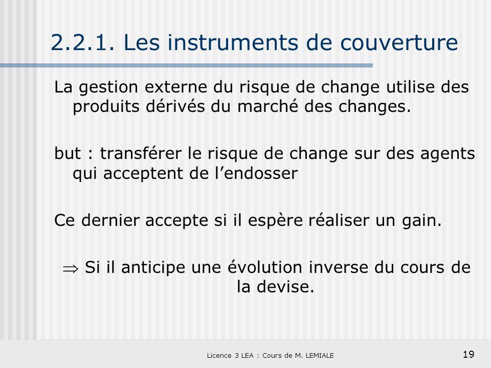 2.2.1. Les instruments de couverture