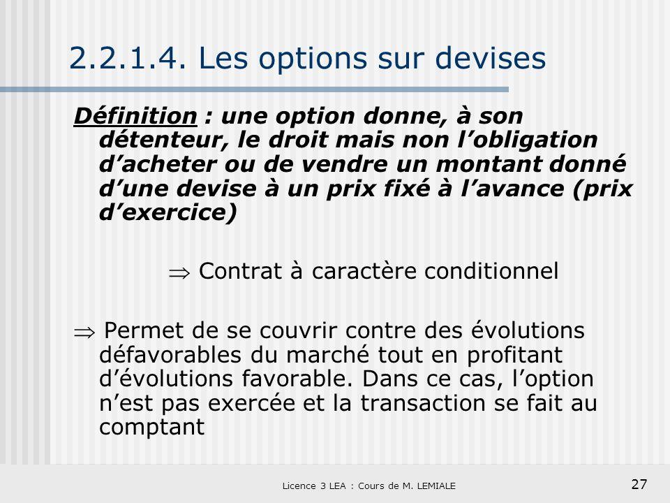 2.2.1.4. Les options sur devises