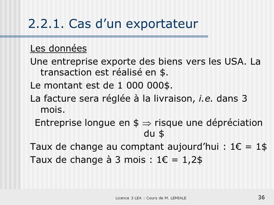 2.2.1. Cas d'un exportateur Les données