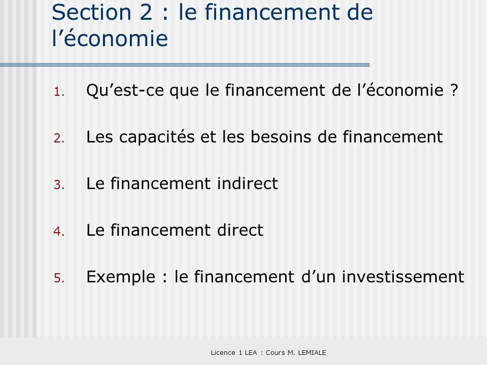 Section 2 : le financement de l'économie
