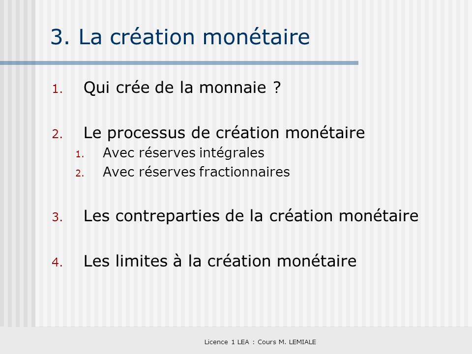Licence 1 LEA : Cours M. LEMIALE