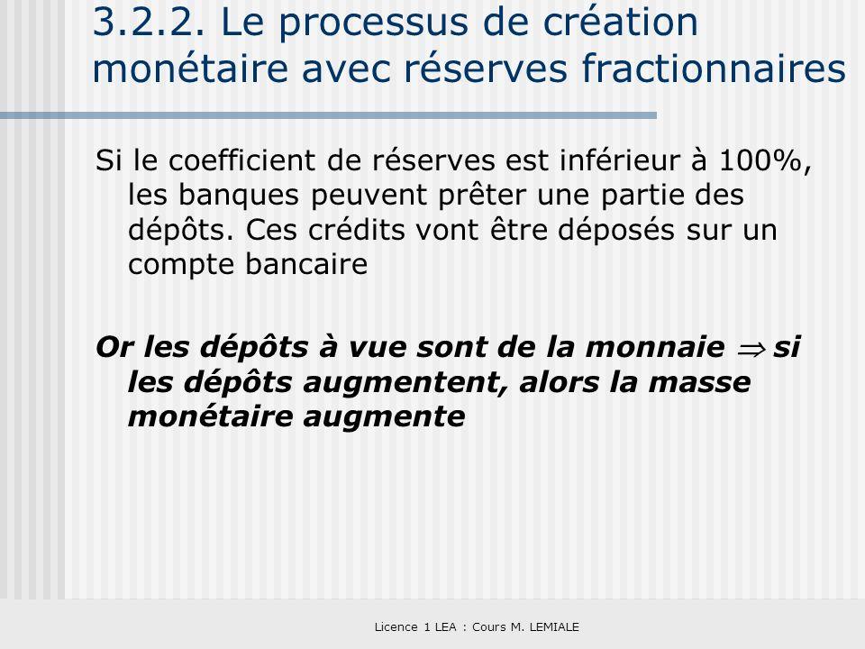3.2.2. Le processus de création monétaire avec réserves fractionnaires