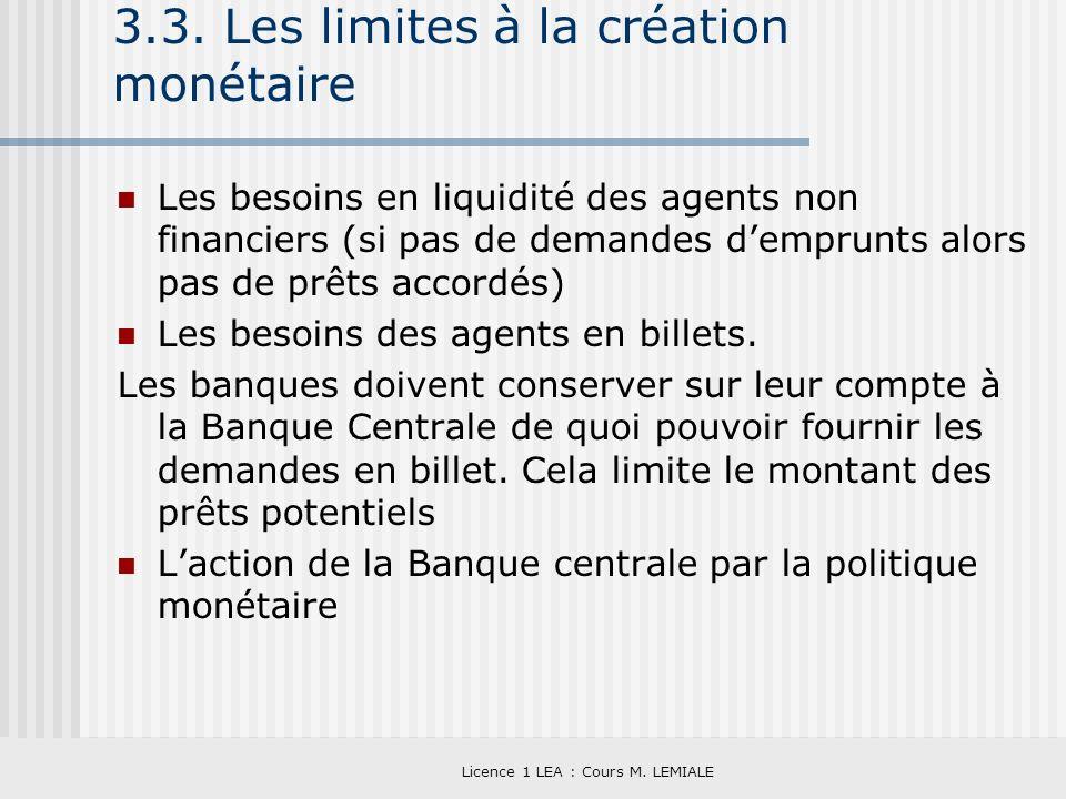 3.3. Les limites à la création monétaire