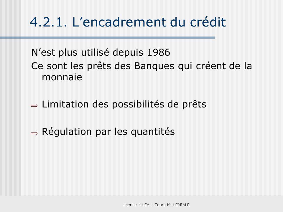 4.2.1. L'encadrement du crédit