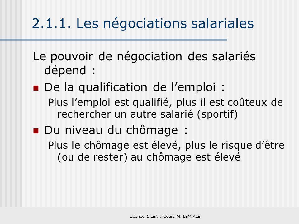 2.1.1. Les négociations salariales