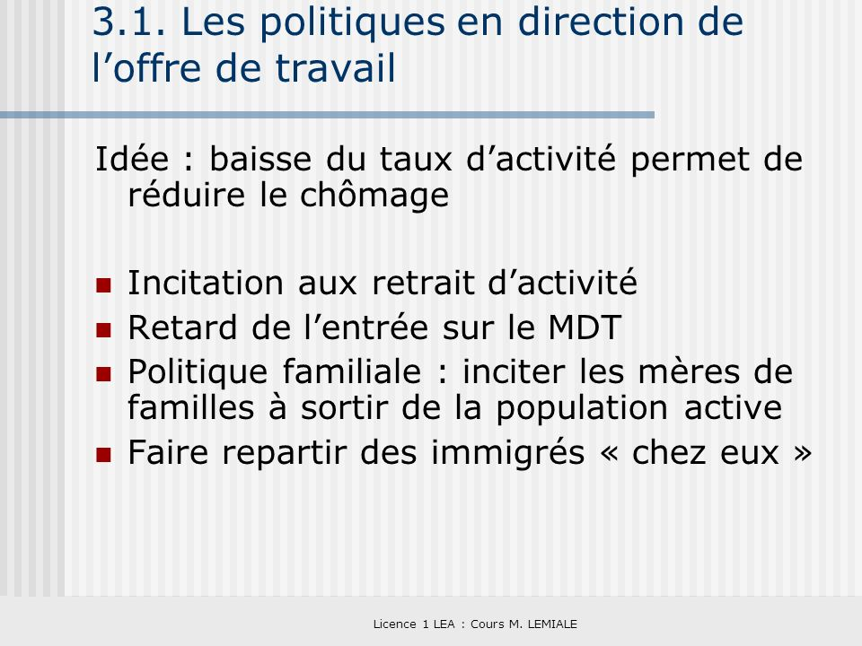 3.1. Les politiques en direction de l'offre de travail