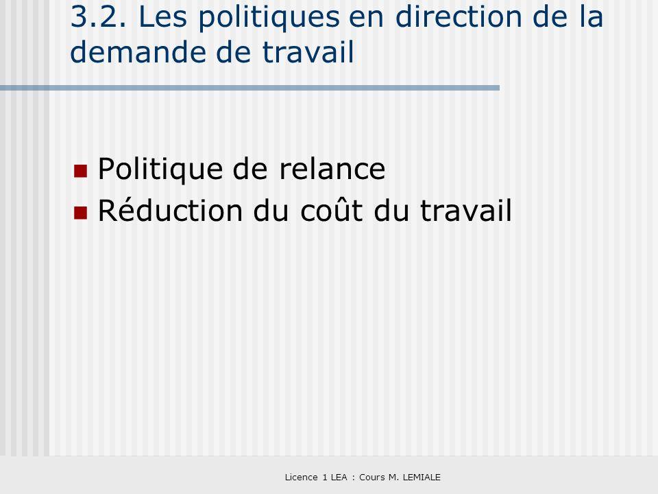 3.2. Les politiques en direction de la demande de travail
