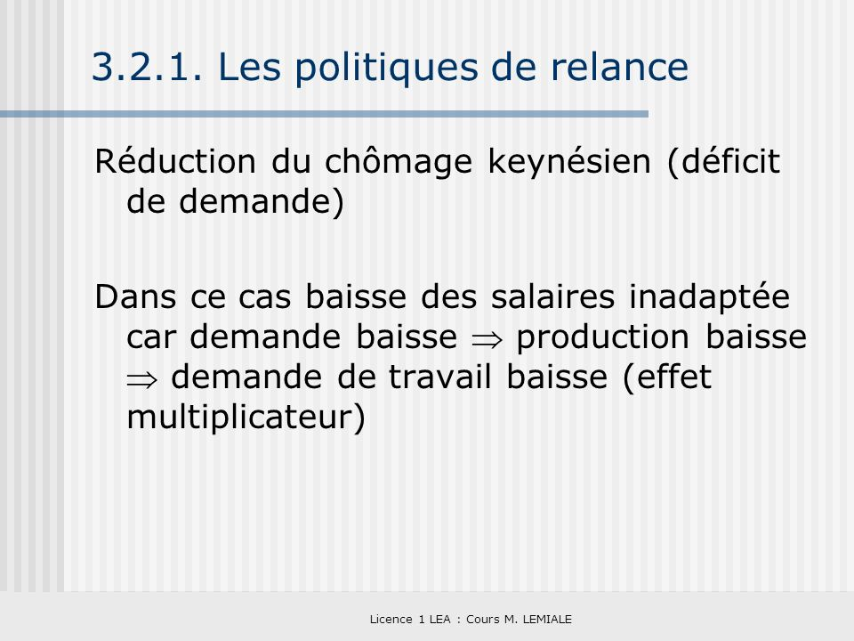3.2.1. Les politiques de relance
