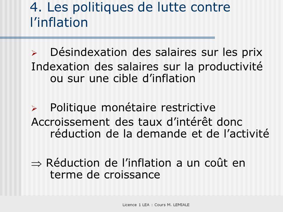 4. Les politiques de lutte contre l'inflation