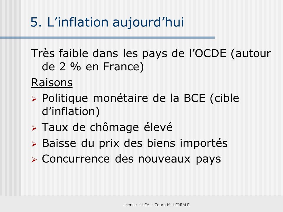5. L'inflation aujourd'hui