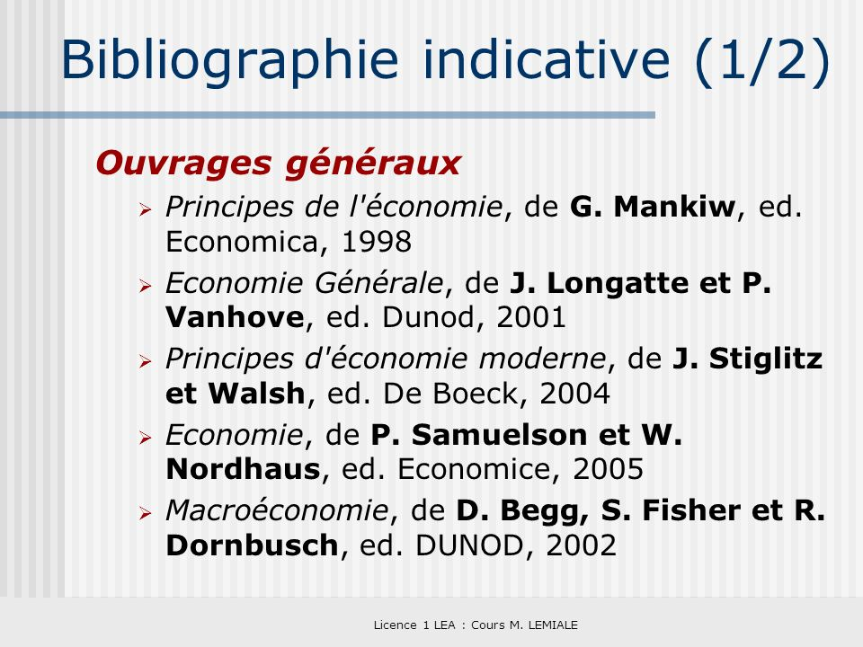 Bibliographie indicative (1/2)