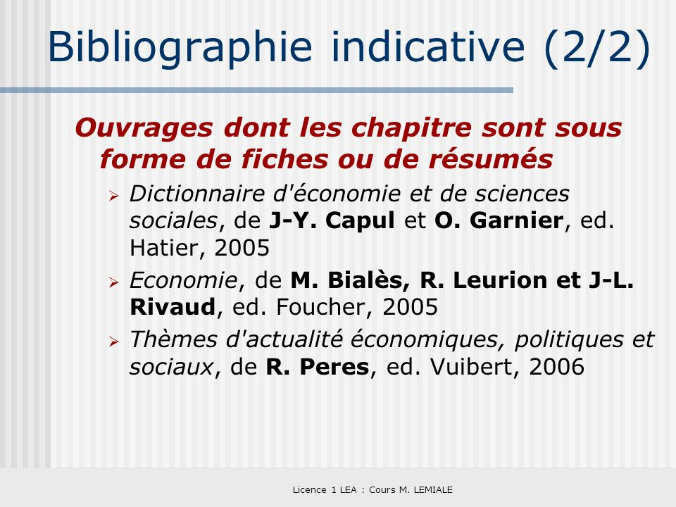 Bibliographie indicative (2/2)