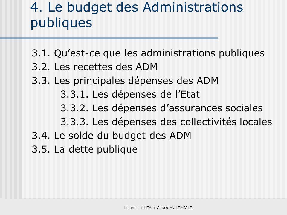 4. Le budget des Administrations publiques