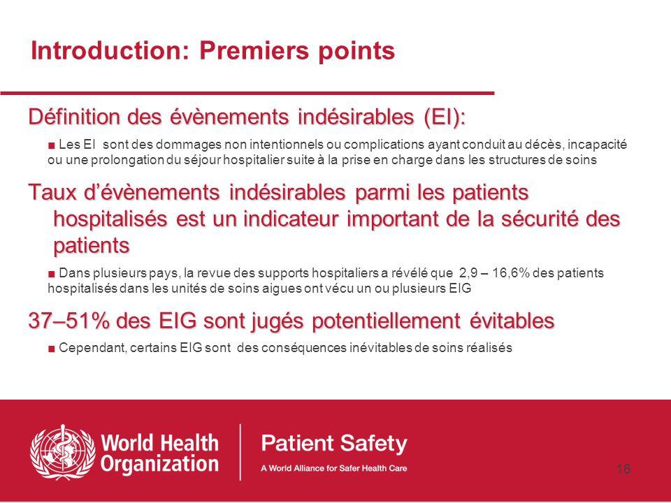 Introduction: Premiers points